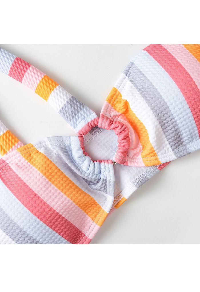 Rainbow Stripe Color Block One-Shoulder Bikini Set
