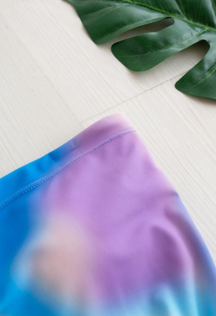 One-Shoulder Cutout One-Piece Swimsuit in Tie-Dye
