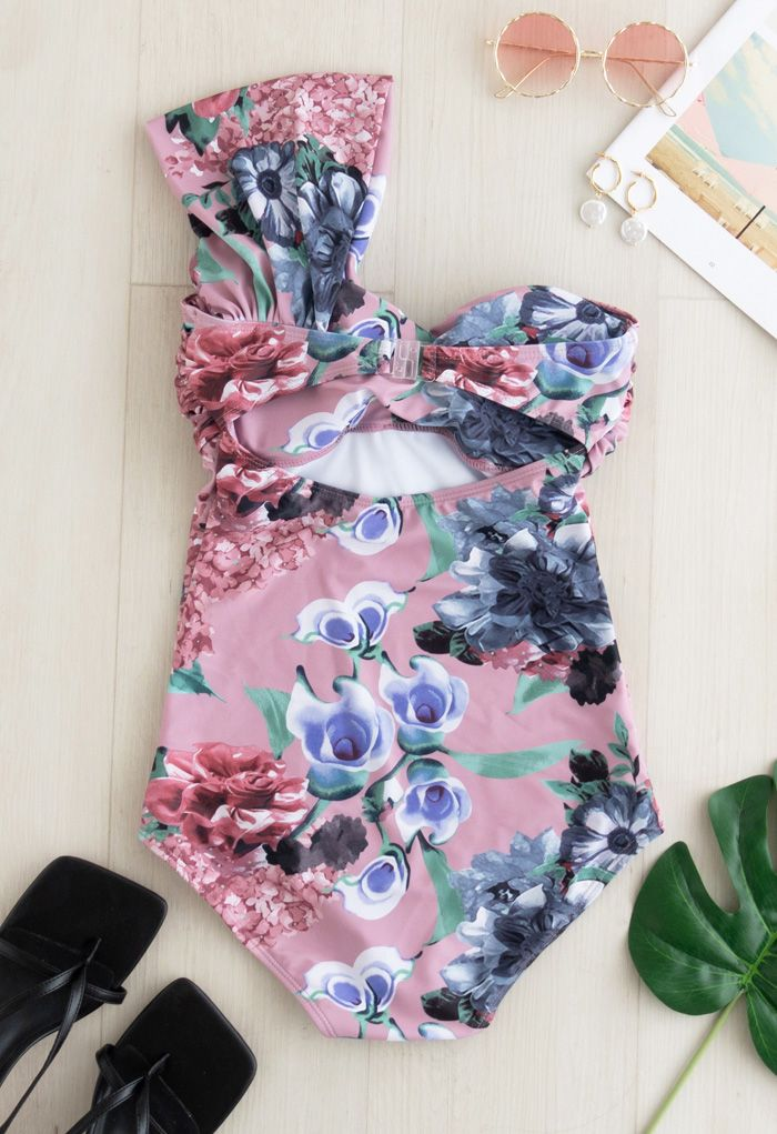 Sweet Knot Floral One-Shoulder One-Piece Swimsuit