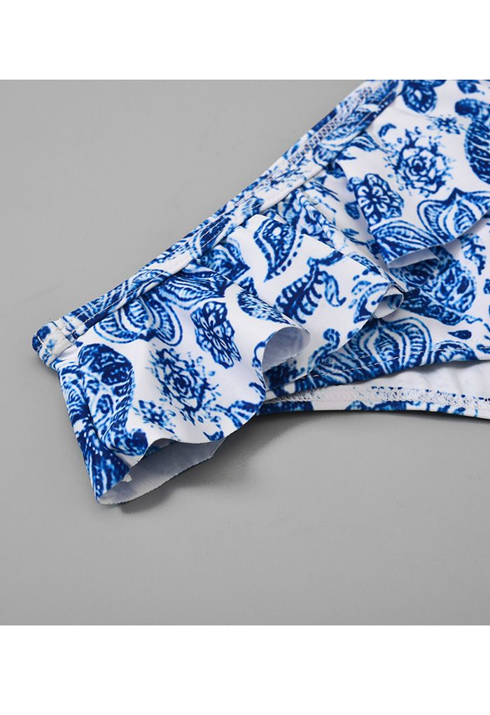 Blue Floral Print Ruffle Trim Bikini Set