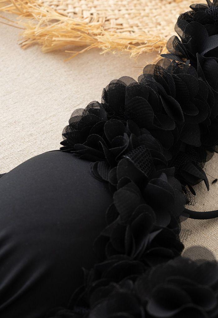 Mesh Flower Straps Halter One-Piece Swimsuit in Black