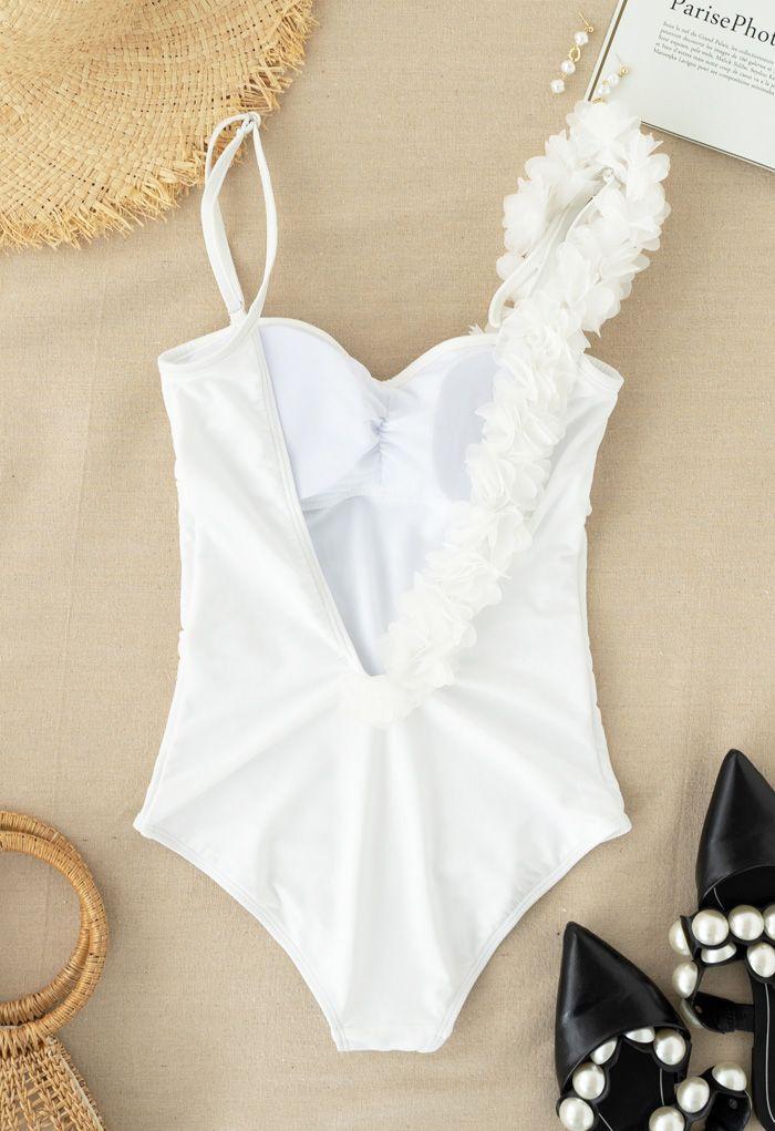 Open Back Mesh Flower Trim One-Piece Swimsuit