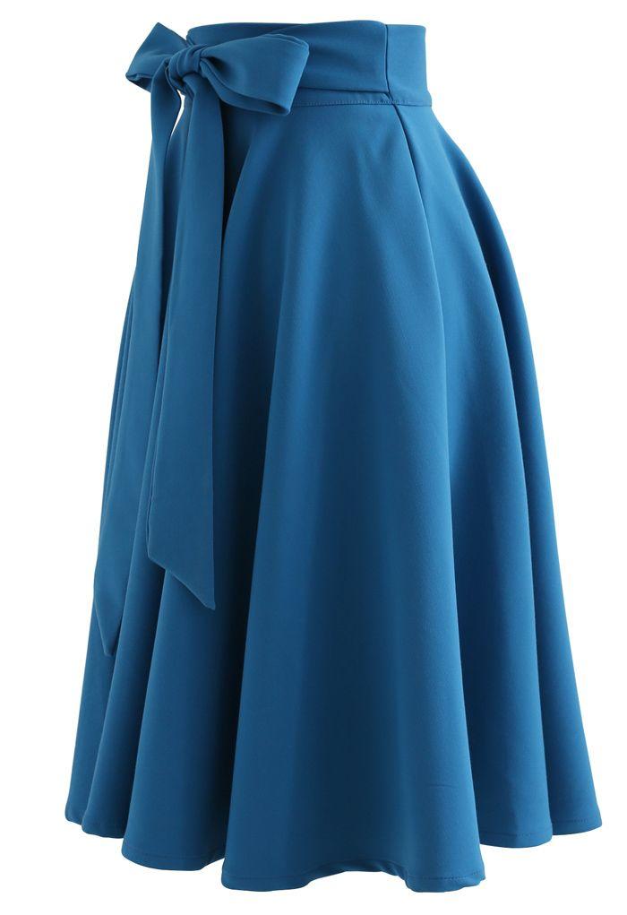 Flare Hem Bowknot Waist Midi Skirt in Peacock Blue