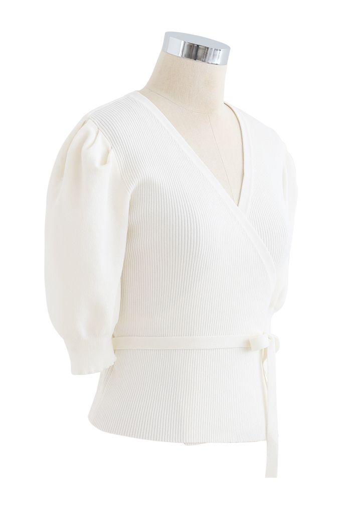 Bubble-Sleeve Wrapped Ribbed Knit Top in White