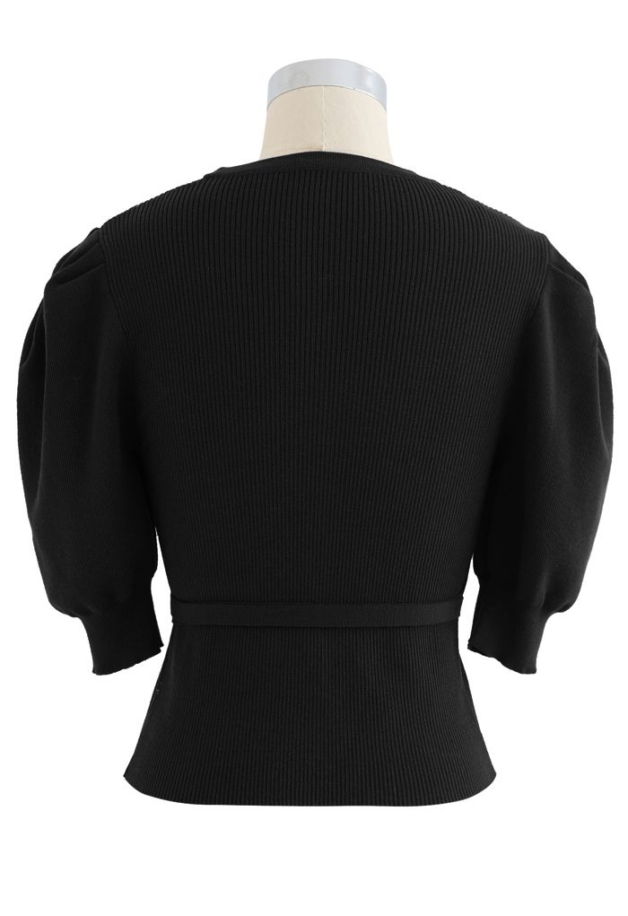 Bubble-Sleeve Wrapped Ribbed Knit Top in Black