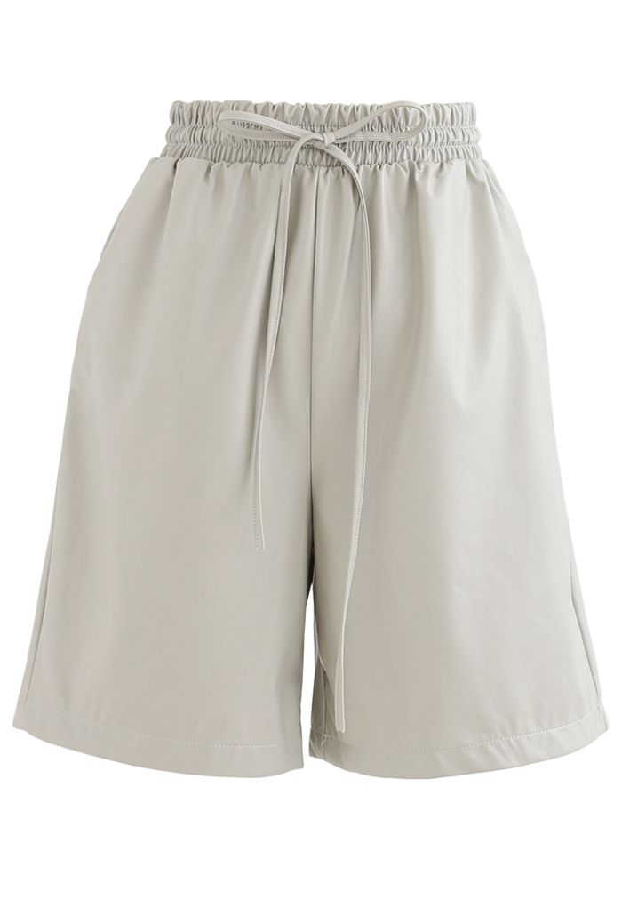 Drawstring PU Leather Shorts in Ivory