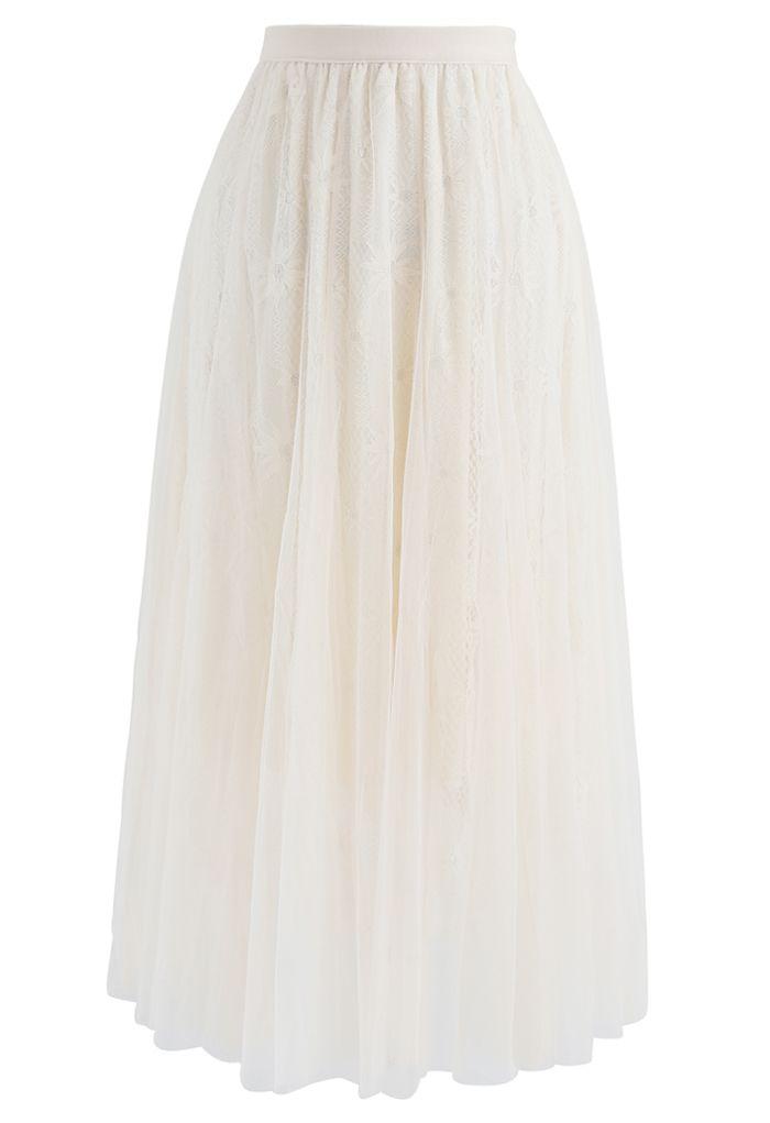 Sunflower Lace Mesh Tulle Midi Skirt in Cream