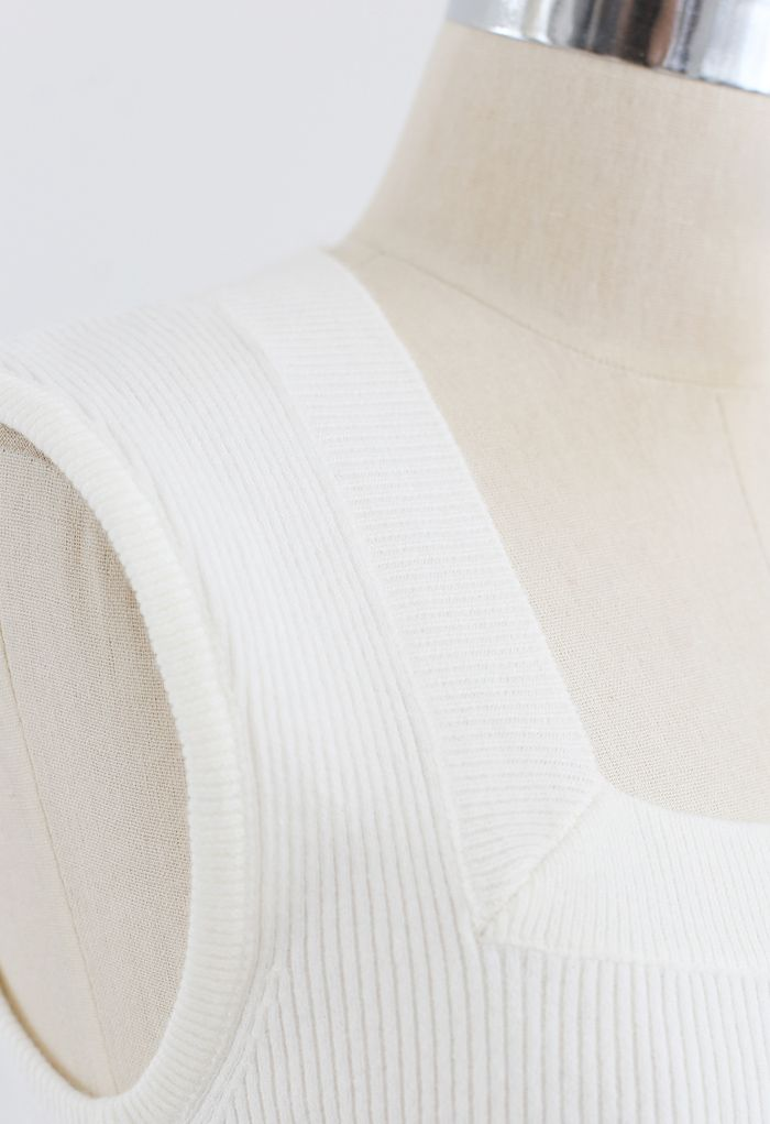Square Neck Sleeveless Ribbed Knit Top in White