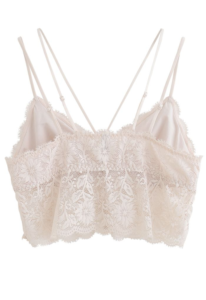 Strappy Full Lace Button Down Bustier Top in Nude Pink