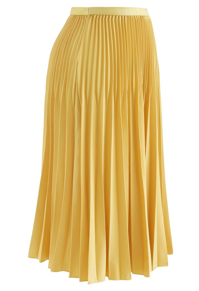 Solid Color Pleated A-Line Midi Skirt in Mustard