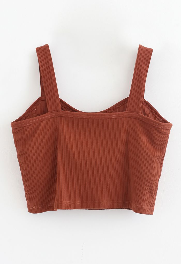 Buttoned Front Strappy Crop Tank Top in Rust red