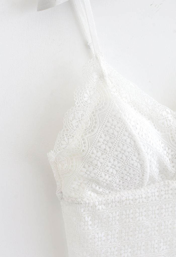 Floret Lace Cami Bustier Top in White