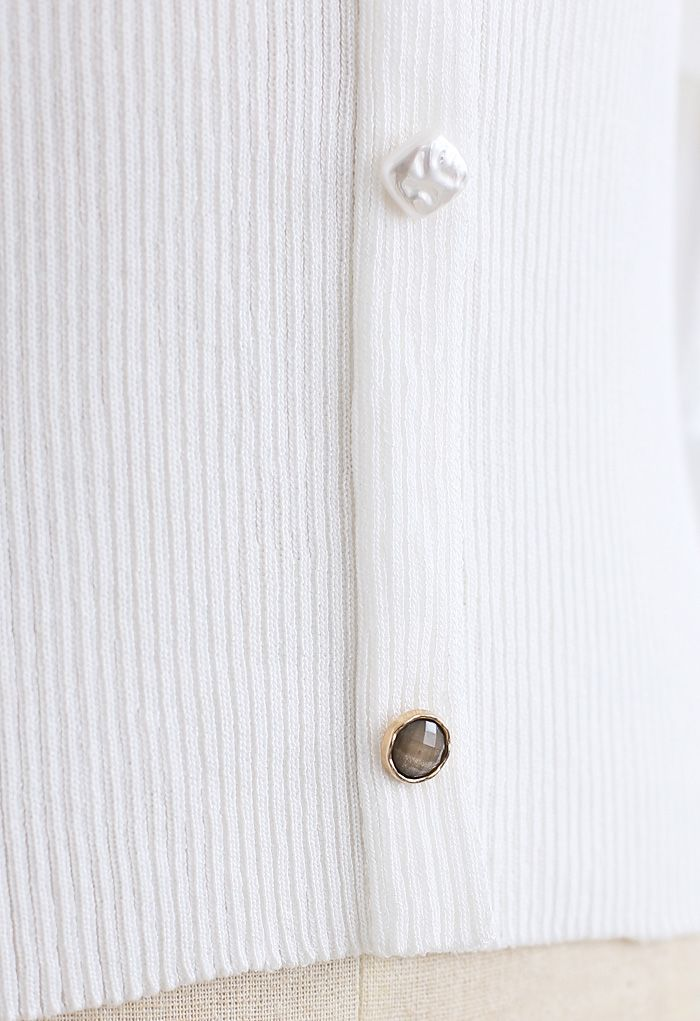 Cutout Shoulder Button Down Fitted Knit Top in White