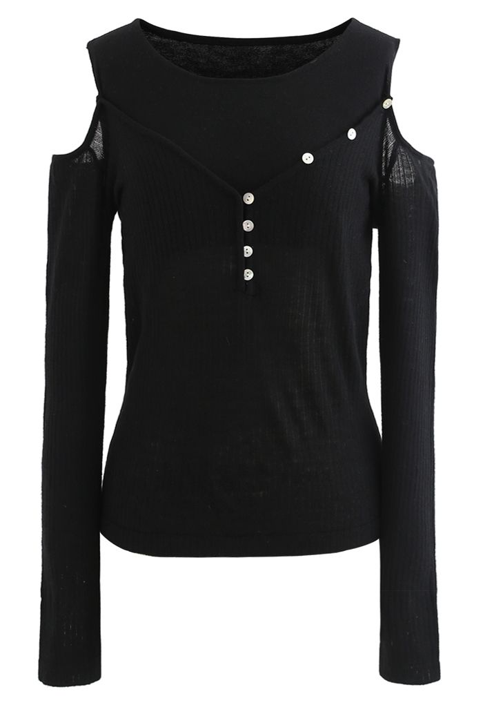 Fake Two-Piece Button Knit Top in Black