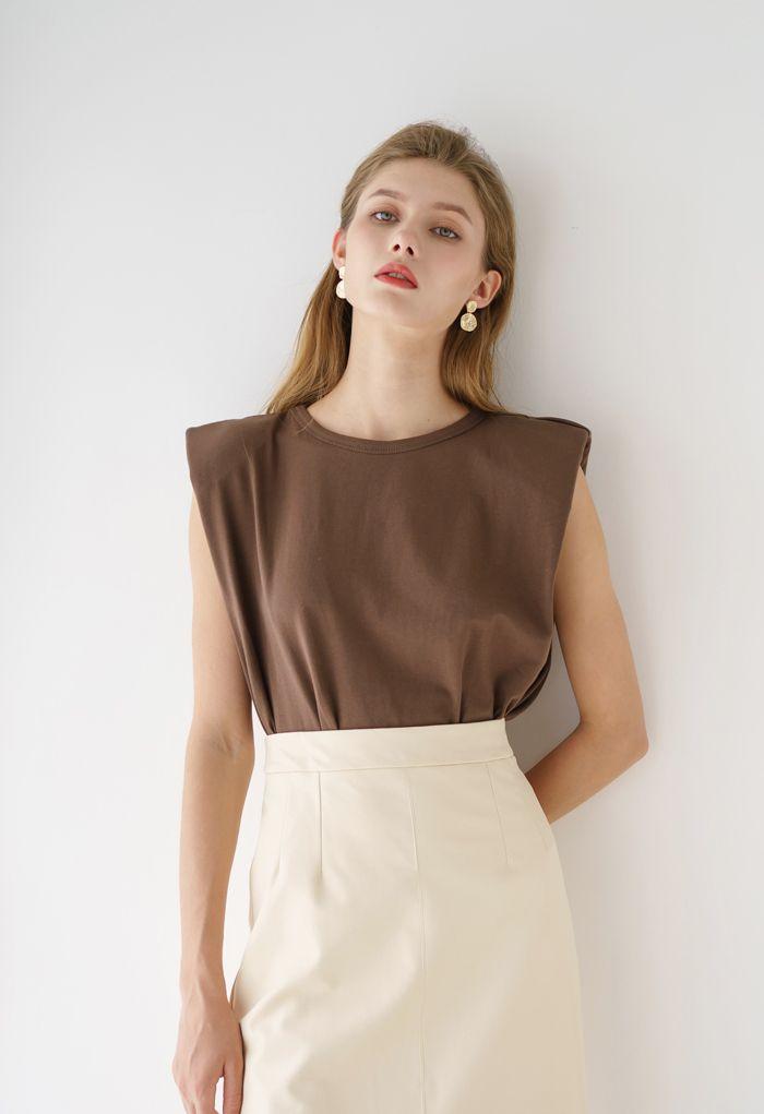 Padded Shoulder Sleeveless Top in Brown