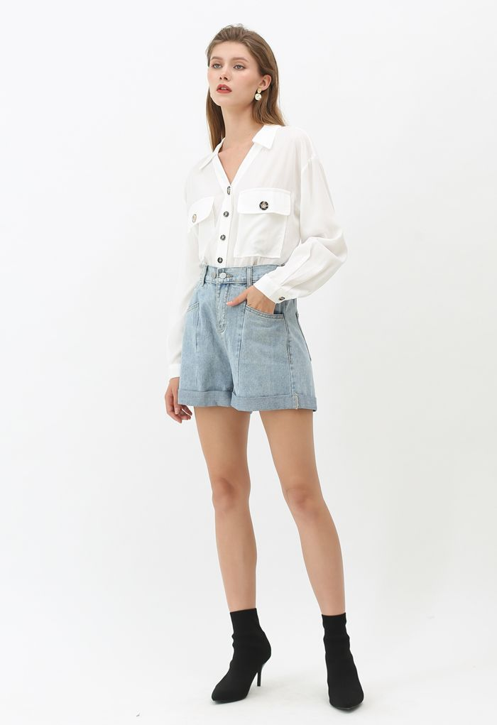 Flap Pockets Button Down Shirt in White