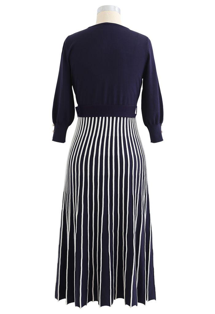 Radiant Lines V-Neck Bowknot Knit Dress in Navy