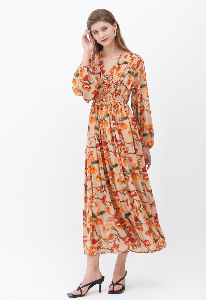 Flower Fairyland Button Shirred Chiffon Maxi Dress