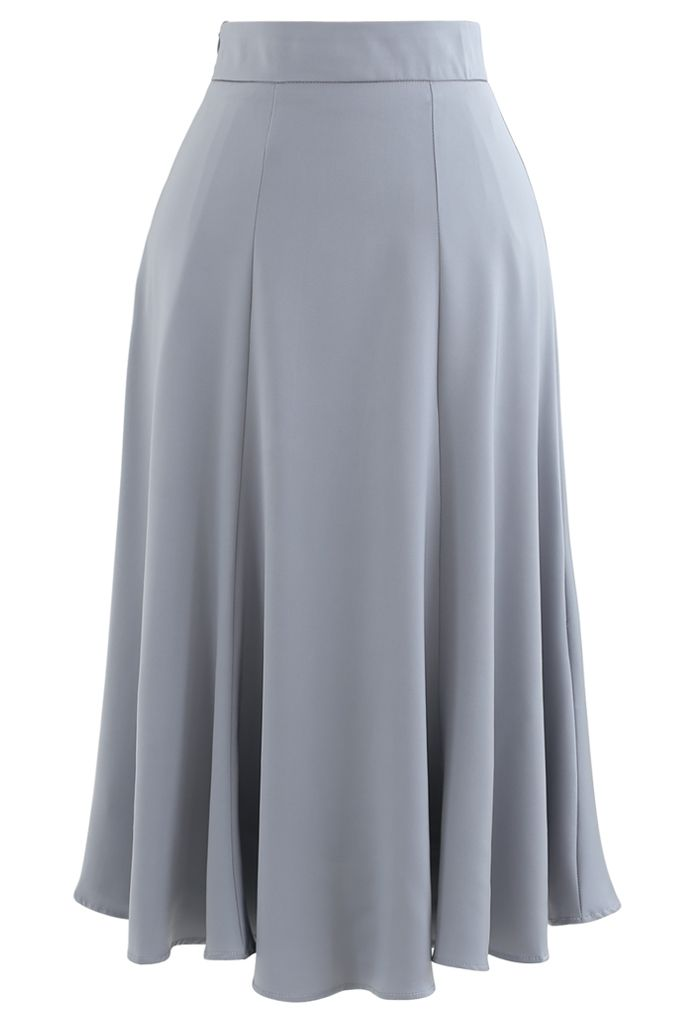 Satin A-Line Midi Skirt in Grey