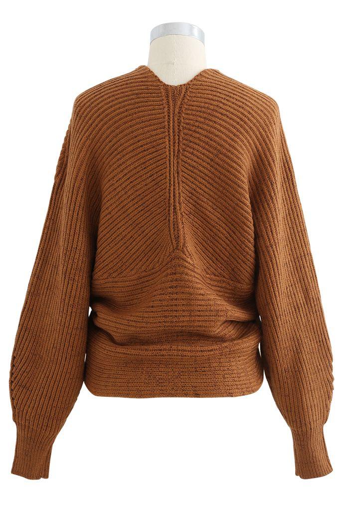 Crisscross Ribbed Knit Crop Sweater in Caramel