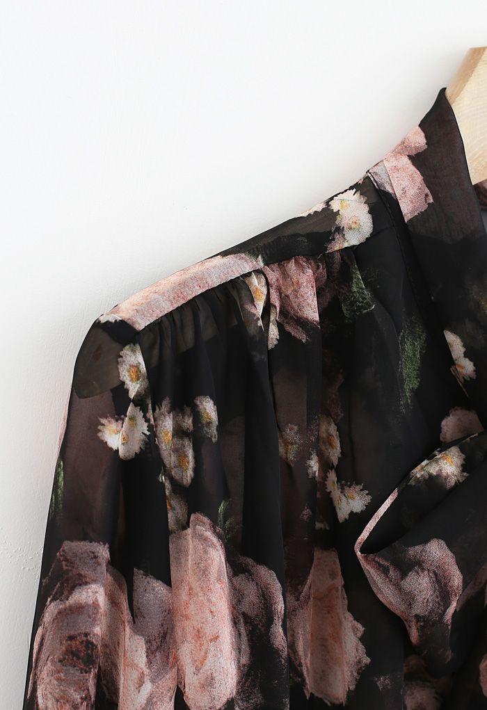 Semi-Sheer Floral Print Bow Neck Chiffon Top