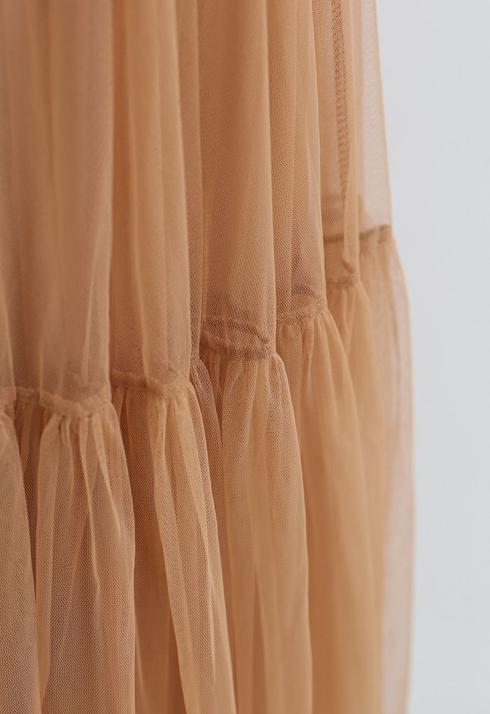 Can't Let Go Mesh Tulle Skirt in Orange