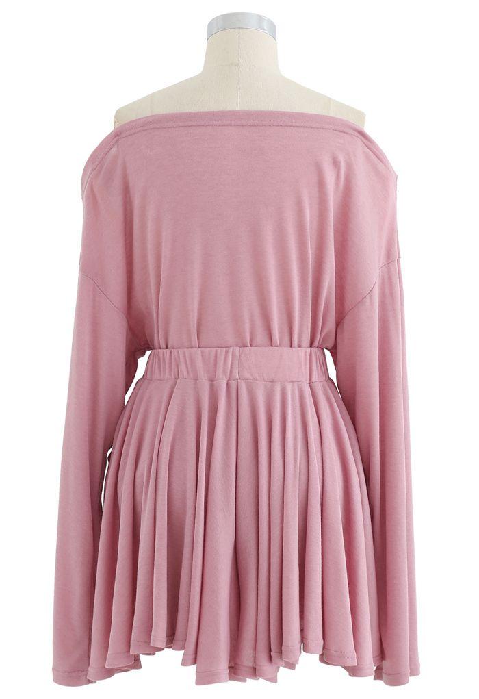 Oblique Shoulder Top and Pocket Shorts Set in Pink