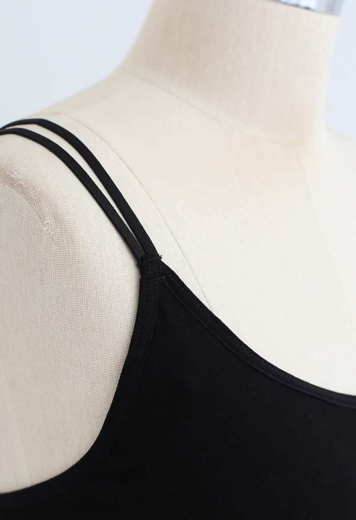 Double Straps Crisscross Back Bra Top in Black