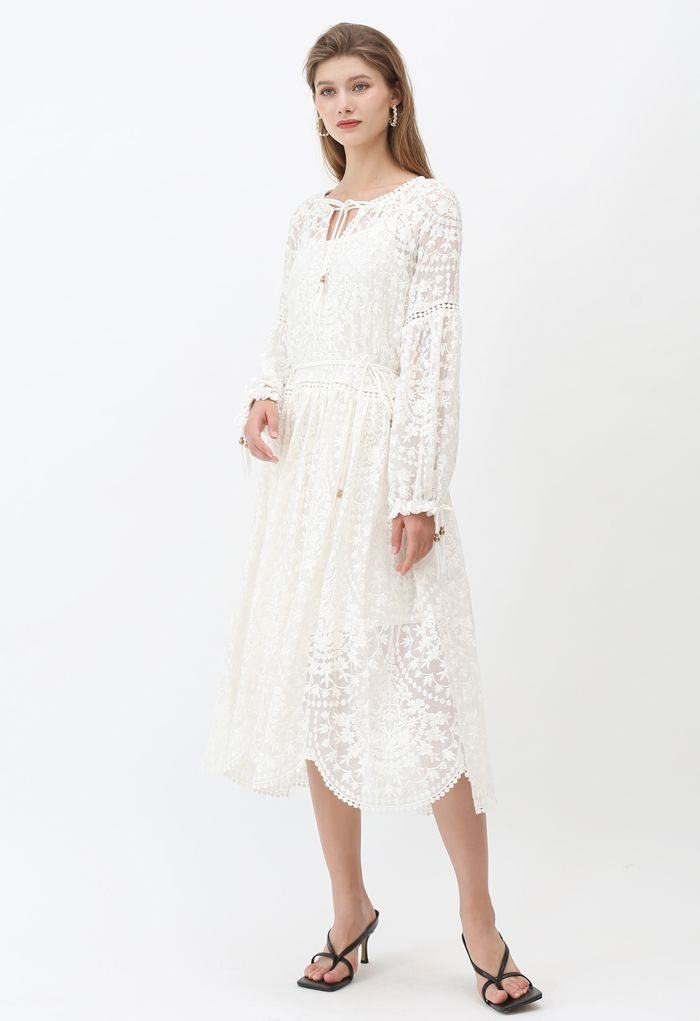 Self-Tied Tassel Floral Embroidered Organza Dress