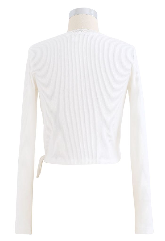 Lace Trim Wrap Knit Top in White