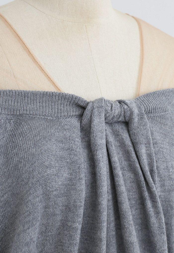 Mesh Shoulder Drape Neck Knit Sweater in Grey