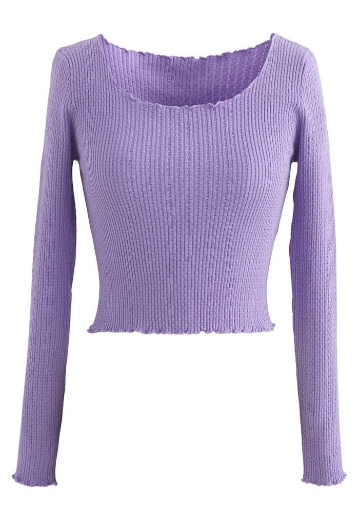 Lettuce-Hem Crop Knit Top in Purple