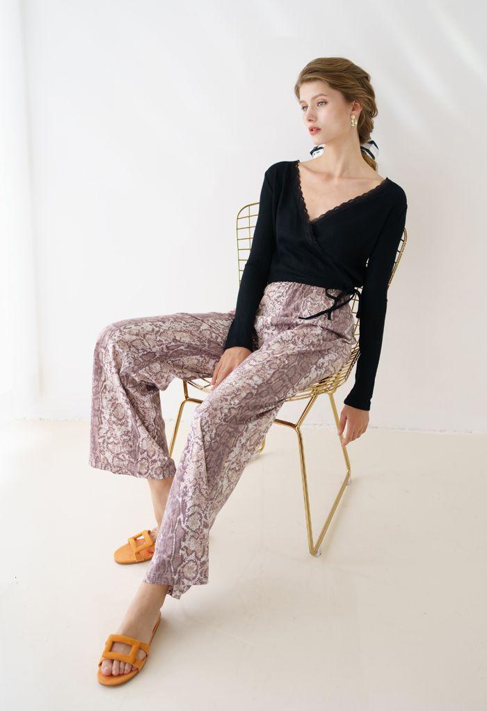 Lace Trim Wrap Knit Top in Black