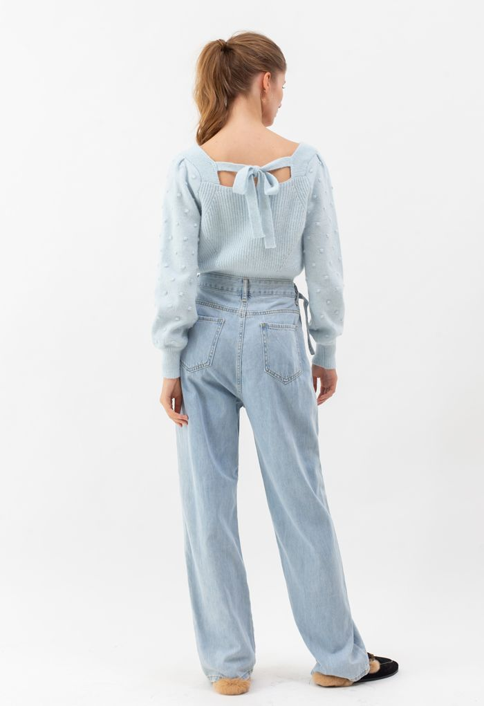 Belted Wide-Leg Pocket Jeans in Light Blue