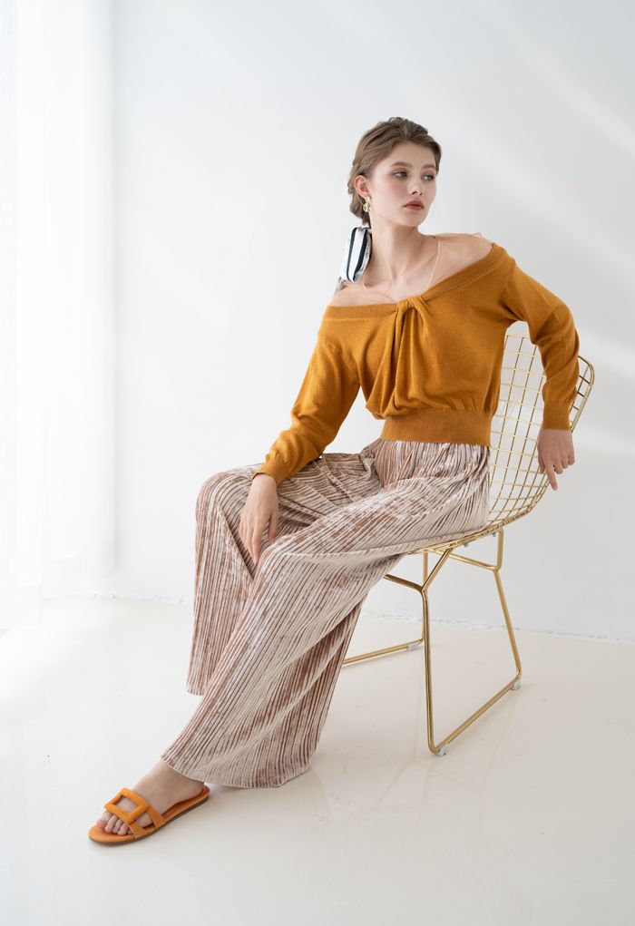 Mesh Shoulder Drape Neck Knit Sweater in Caramel