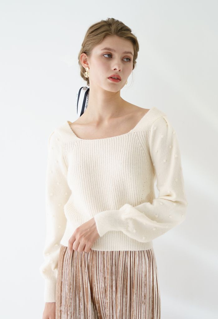 Bowknot Back Square Neck Knit Sweater in Cream
