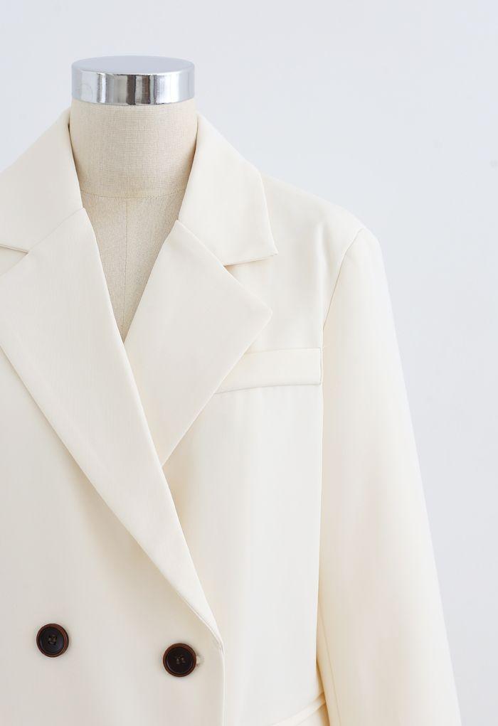 Fake Pocket Double-Breasted Blazer in Cream