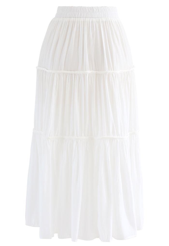 Swing Pleated Midi Skirt in White