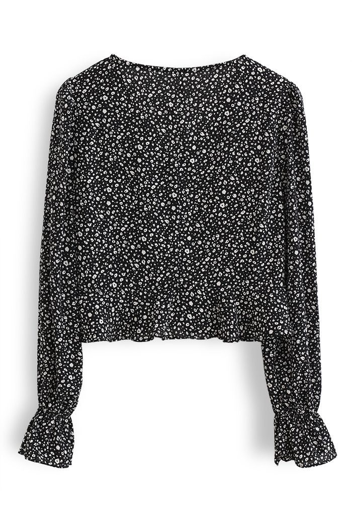 Spotted V-Neck Button Crop Top in Black