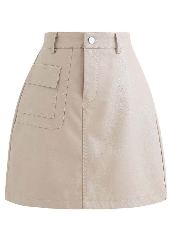 Pocket Faux Leather Texture Skirt in Cream