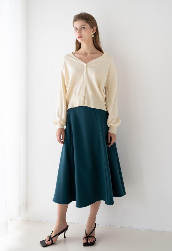 Seam Detail Flare Hem Midi Skirt in Teal