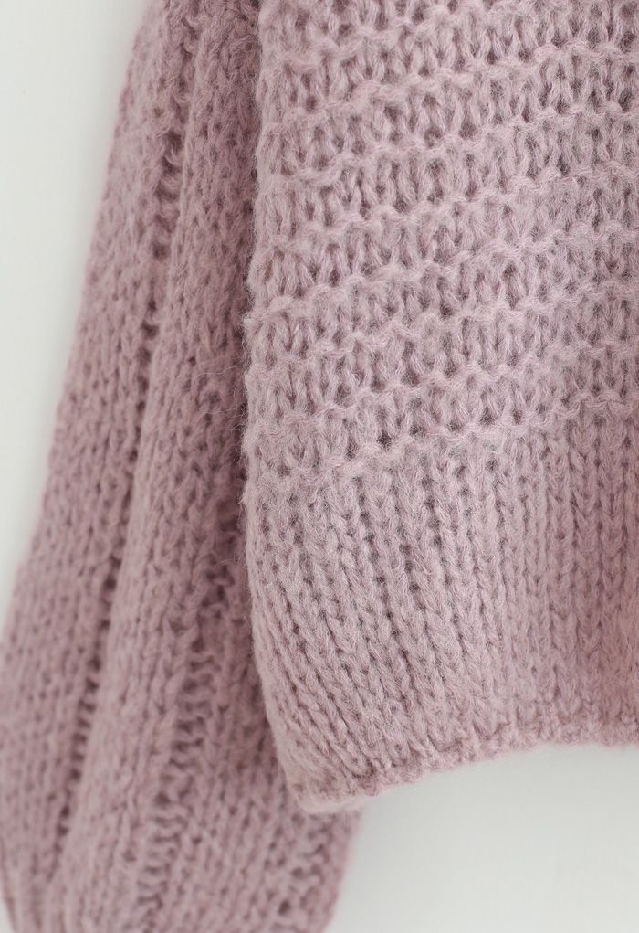 Fluffy Knit Hollow Out Crop Sweater in Dusty Pink