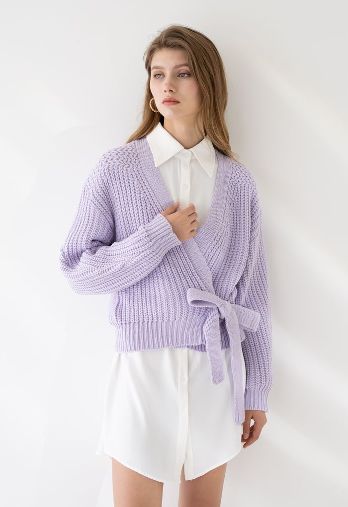 Wrap Bowknot Chunky Knit Sweater in Lavender
