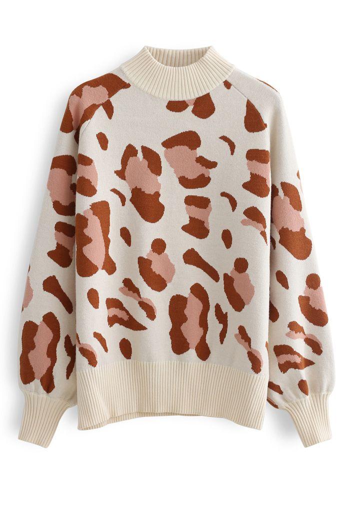 High Neck Irregular Print Ribbed Knit Sweater in Cream