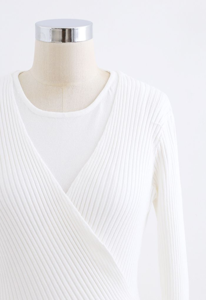 Two-Piece Soft Knit Cropped Top in White
