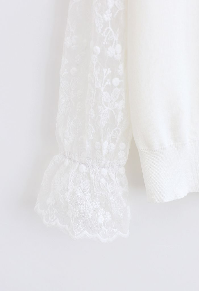 Embroidered Posy Mesh Sleeves Knit Top in White