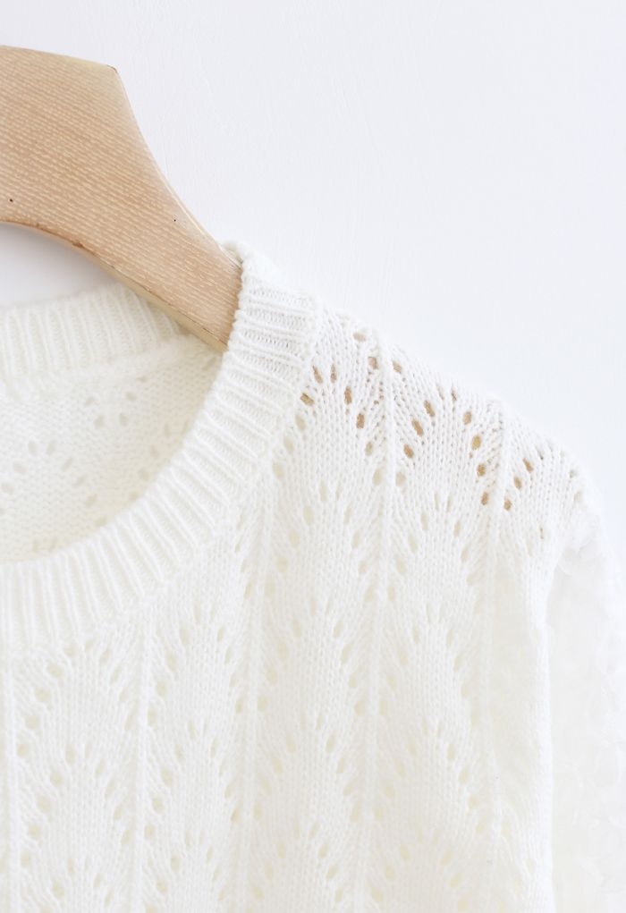 3D Flower Lace Sleeves Eyelet Knit Sweater in White
