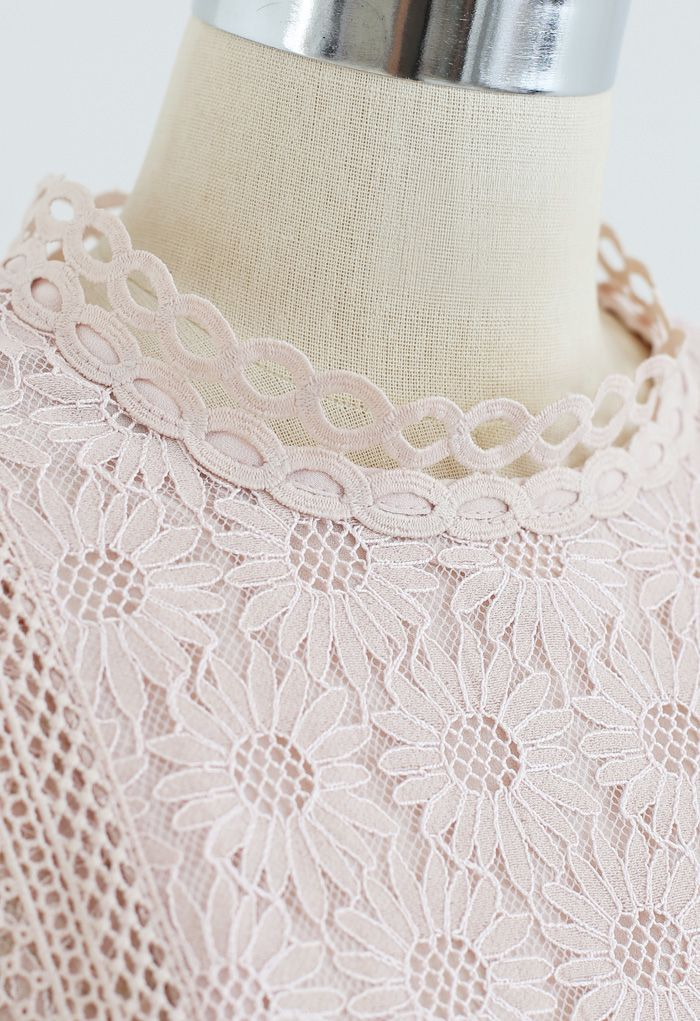 Sunflower Full Lace Long Sleeves Top in Pink