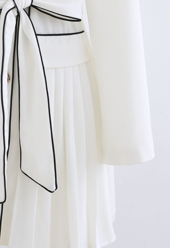Piped Double-Breasted Pleated Blazer Dress in White