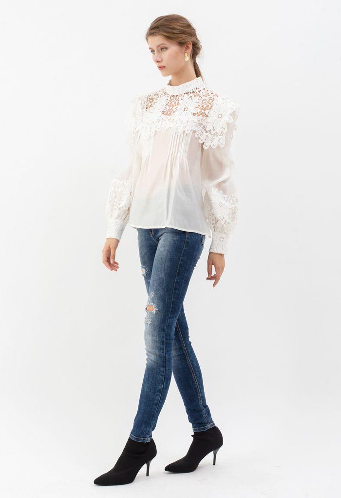 Sunflower Crochet Inserted Smock Top in White